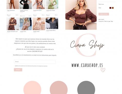 diseño de la página web de Ciara Shop